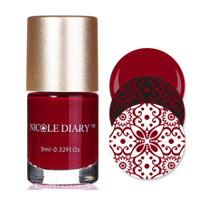9ml NICOLE DIARY Nail Art Stamping Polish Red Nail Art Varnish Polish for Beauty Nail Art Printing NS10(China)