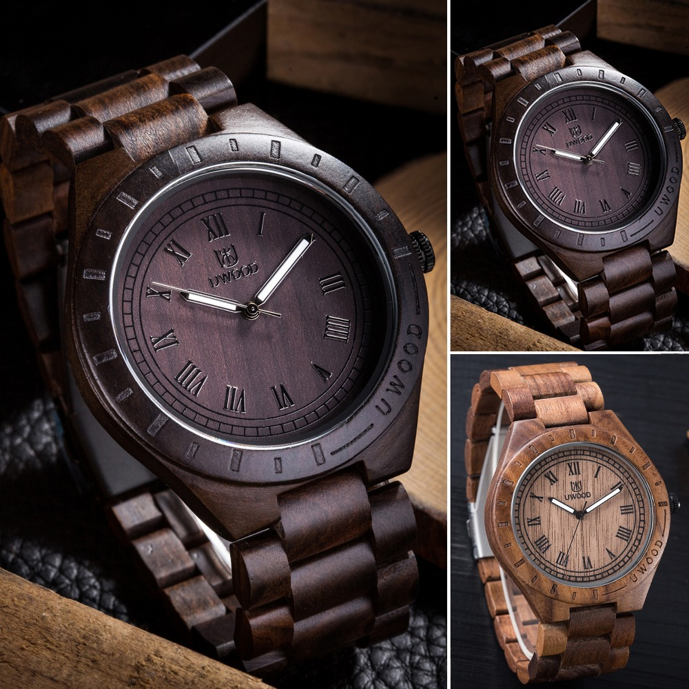2016 Newest Arrival wooden Wristwatch Mens Wood Watch Natural Black Sandal Wood Analog Quartz Casual Watches Japan MIYOTA  W3133<br>