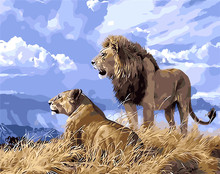 King of the prairie lion painting gift for friends digital oil painting home decor wall art for living room drawing by numbers