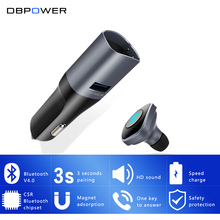 DBPOWER 2 in 1 Bluetooth Earphone&Car Charger Wireless Bluetooth 4.0 Cigarette Lighter 5V/2.1A USB Car Charger with Headset