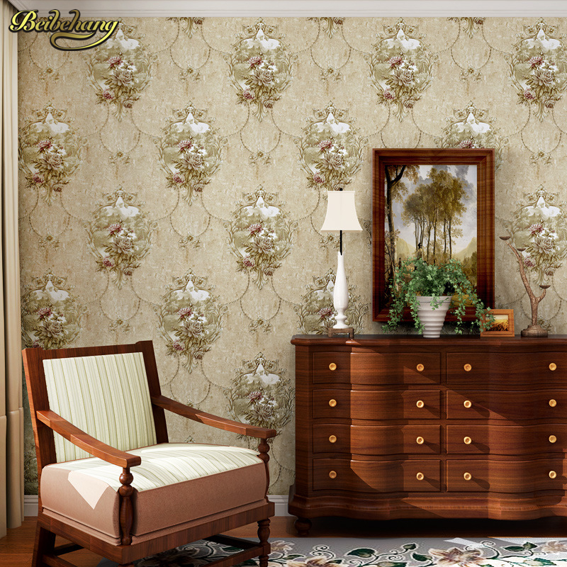 beibehang American Vine Sculpture 3D Stereo Nonwoven Fabric Wallpaper Wedding Room Bedroom Living Room Background papel de pared<br>