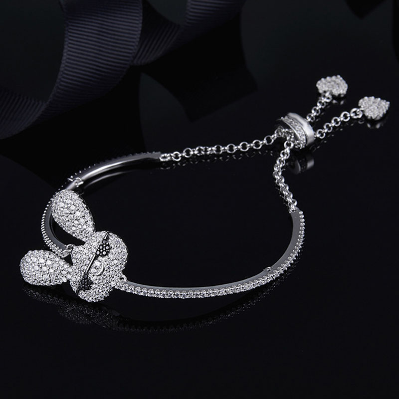 SLJELY 925 Sterling Silver Cute Rabbit Bracelet with Double Hearts Ending White Animals Zircon Stone Women Girls Fashion Jewelry