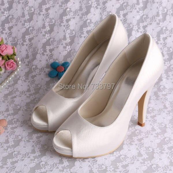 Wedopus MW706 Custom Handmade Ivory Heels Bride Shoes Platform Pumps Wedding Open Toe<br><br>Aliexpress