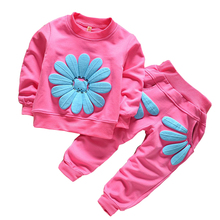 BibiCola Spring Autumn Children Girl Clothing Set Baby Girls Sports Suit Top+Pants Sunflower costume Kids Clothing Set suit