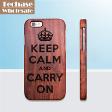 Wholesale 30pcs/lot Techase Back Covers For iPhone 5/6/7 Plus Case Full Solid Wooden Design Phone Cases Support Customized Logo(China)