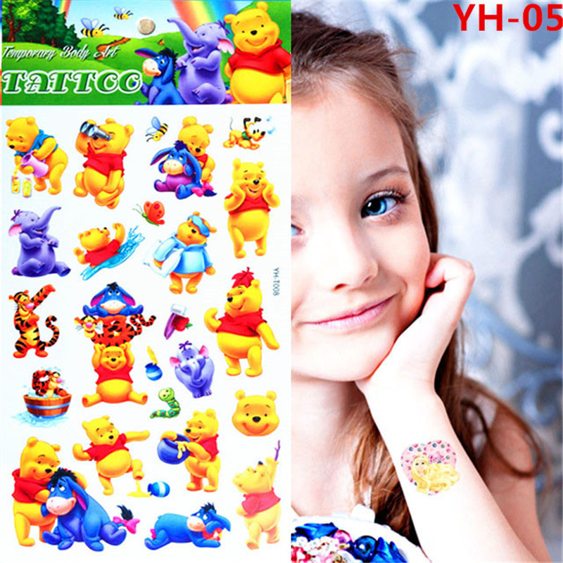 FREE SHIPPING Cute Yellow Winnie Pool Bear Toys Kids Flash Cartoon Tattoo Sticker Movie TV Body Art Children