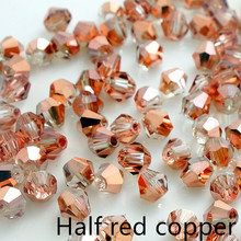Wholesale new crystal glass 5301 # loose spacer bicone Beads 3mm 4mm 6mm Half red copper