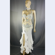 Top quality New women belly dance costume set showgirl belly dancing clothes halloween bellydance bra&belt&skirt 5pcs suit(China)