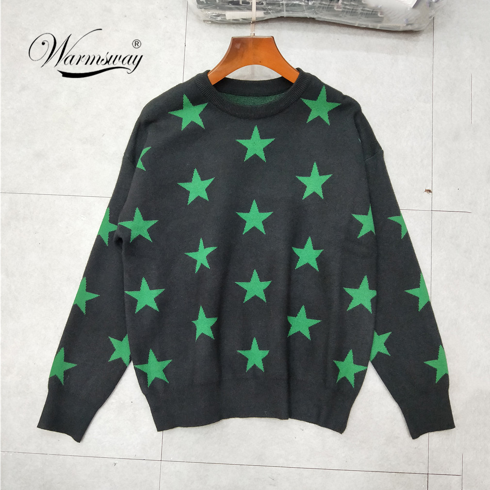 Europe and America 2018 winter pullovers five-pointed star Cool Girls Long Sleeve Jumper Streetwear Knitwear Pull Femme C-242