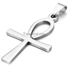 Hot 2015 Men Jewelry Silver 316L Stainless Steel Stainless Steel Egyptian Ankh Cross Mens Womens Pendant Necklaces collares(China)