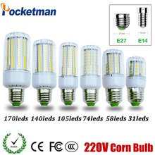 SMD 5730 E27 E14 LED Lamp 5730SMD LED Lights Corn Led Bulb 31 58 74 105 140 170Leds Chandelier Candle Lighting Home Decoration(China)