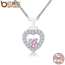 BAMOER Genuine 925 Sterling Silver Sweet I Love You Dazzling CZ in Heart Pendant Necklaces Authentic Silver Jewelry SCN136(China)