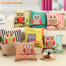 RUBIHOME Lovely Owls Cushion Without Inner Polyester Home Decor Sofa Car Seat Decorative Throw Pillow Hot Sale Housse(China)