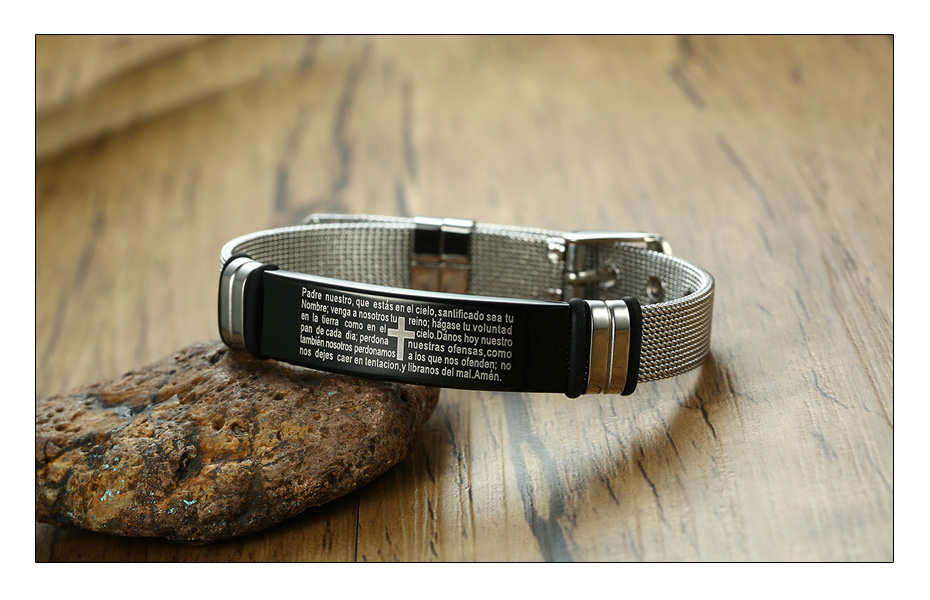 Meaeguet Stainless Steel Cross Bible Charm Bracelet Wristband For Men Adjustable Watch Bands Bracelet Christian Jewelry (4)