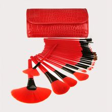 Professional 24pcs Crocodile pattern bag red Makeup Brush Set tools foundation Toiletry Make Up cosmetic powder blending Brush(China)