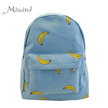 Cute Girl Banana Pattern Printing Women Backpacks Traveling Blue Candy Color School Bags Unique Fashion Canvas Backpack Female