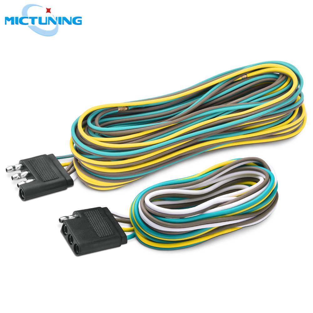 MICTUNING New 4Pin 25' Male & 6' Female Connector 18 AWG Color Coded Wires  4 Way Flat Trailer Light Wiring Harness Extension Kit    - AliExpresswww.aliexpress.com