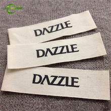 1000pcs Custom Garment Accessories Eco-friendly Cotton Labels Customized Brand Logo Printed Washable White/Beige Cotton Labels