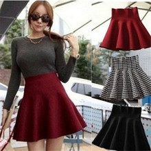 Buy 2017 New Fashion Spring Woman Skirt Knitted Elastic High Waist Mini Skirt Plus Size Pleated Flared Short Skirts Ladies Woman for $5.87 in AliExpress store
