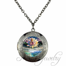 Girl And Lotus Throne Glass Locket Pendant The Dream In The Book World Charms Long Chain Necklaces Gorgeous Angel Love Jewelry(China)