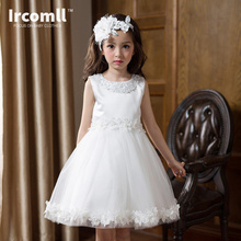 2017 Summer Princess Dress For Girls White Moana Floral Nail Bead kids Dresses for 3-10 Yeals Kids Clothes For Wedding Party