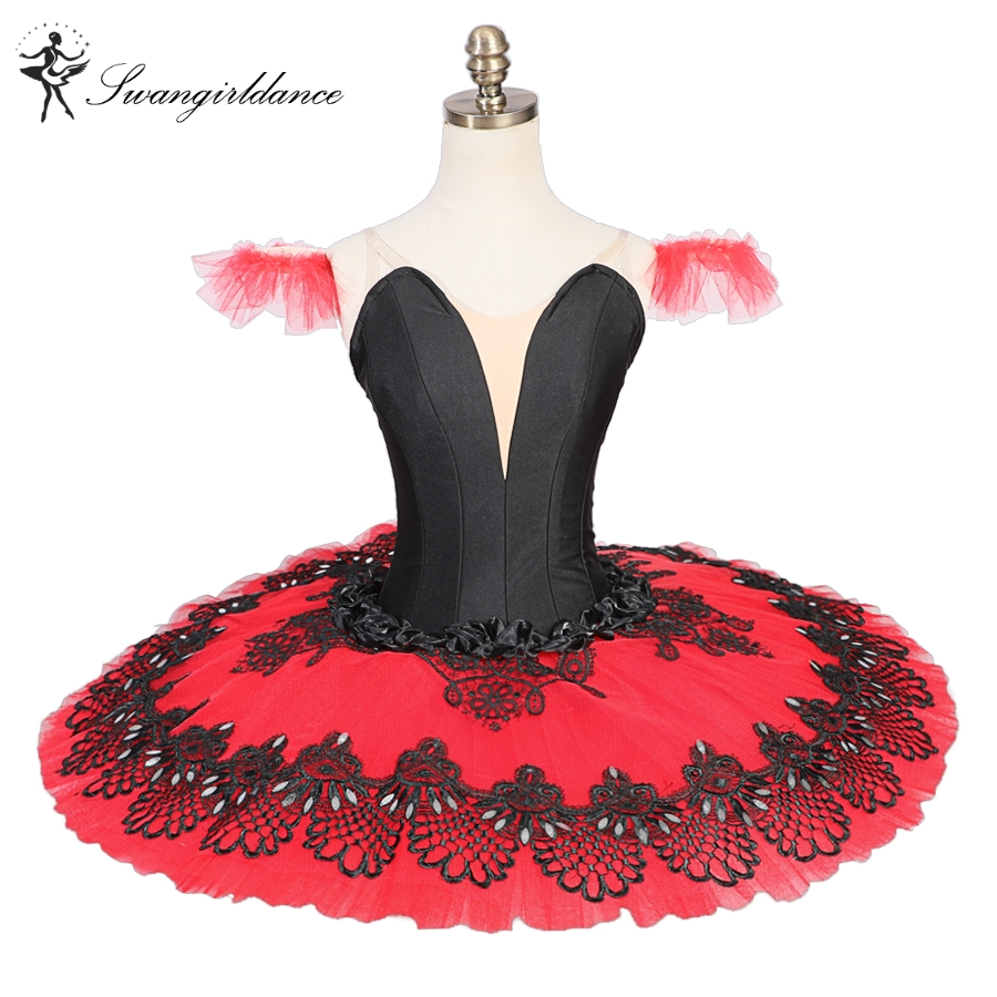 Don Quixote professional tutus red black pancake ballet costumes performance classical ballet tutu nutcracker tutu redBT9052