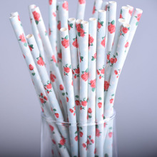 25pcs/lot Light Blue Vintage Retro Floral Paper Straws Biodegradable Drinking Straws Wedding Birthday Party drinking Prom Straws