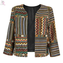 Yellow Slim Geometric Folk Tribal Striped Jacket Coat Outwear Open Front Three Quarter Sleeve Casual 2017 Women Autumn