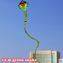 New High Quality Outdoor Fun Sports 15 m Green Long Snake Kites/Power Cobra Kite With Handle Line Good Flying As Gift Or Toy(China)