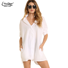 Elia Cher White Cotton Long Sleeve Blouses 2017 Autumn Women Casual Elegant Office Blouse Clothing Lady Shirts Blusa 6469(China)