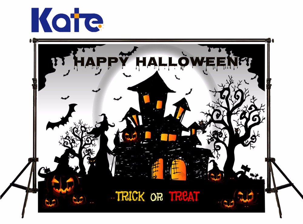 KATE Photography Backdrops Halloween Pumpkin Backdrop Cartoon Photography Backdrop TRick or Treat Background for Photo Studio<br>