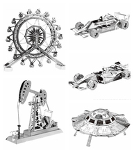 3D metal Puzzle Model toys UFO/Oil drilling machine/ F1 racing Model Kits Scale Models DIY Metallic Puzzle Toys