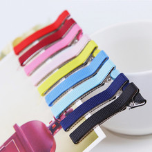 10 Pcs/lot Candy Color 4.8cm 1.9 Inch DIY girl double Prong Ribbon Lined Alligator Hair Accessories