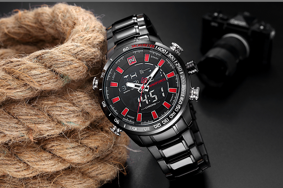 Top Brand Quartz Men Military Sport Watches Mens LED Analog Digital Watch Male Army Stainless Clock Relogio Masculino NAVIFORCE 19