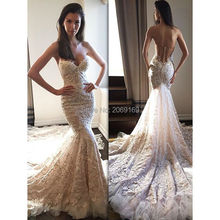 2017 New Fashion Vestido De Noiva Embroidered Lace On Net Off The Shoulder Backless Wedding Dress Sweetheart Mermaid Bridal Gown