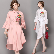 Robe vintage Sexy dress Solid color white pink nine points sleeve tie lapel splice irregular vestido blanco dress SZWL1704505(China)