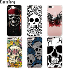 KlarkeTong Floral Sugar Skull Case Cover For iphone 6 6S 7 7Plus 5 5S SE Transparent TPU Protective Coque Capa(China)