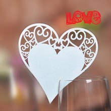 Buy 50pcs Ivory Tone Wedding Table Place Card Laser Cut Heart Design Wine Glass Party Favor 6412 for $2.74 in AliExpress store