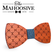 Mahoosive Bowties Groom Normal Mens wood Cravat Gift For Men Butterfly Gravata Male Marriage Wedding Bow Ties(China)
