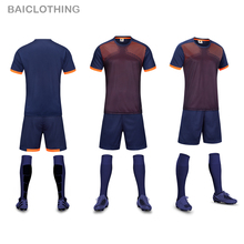 Free Shipping 2017 New Popular Model Men's Soccer Sets Man Training Suit Uniform Soccer Sports Customize Football Team Name Sets