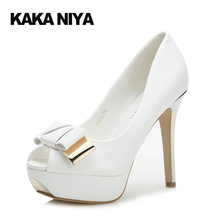 White Women 4 34 Small Size Slip On Ultra 2017 12cm 5 Inch Stiletto Platforms Shoes Fashion Party High Heels Bow Pumps Peep Toe