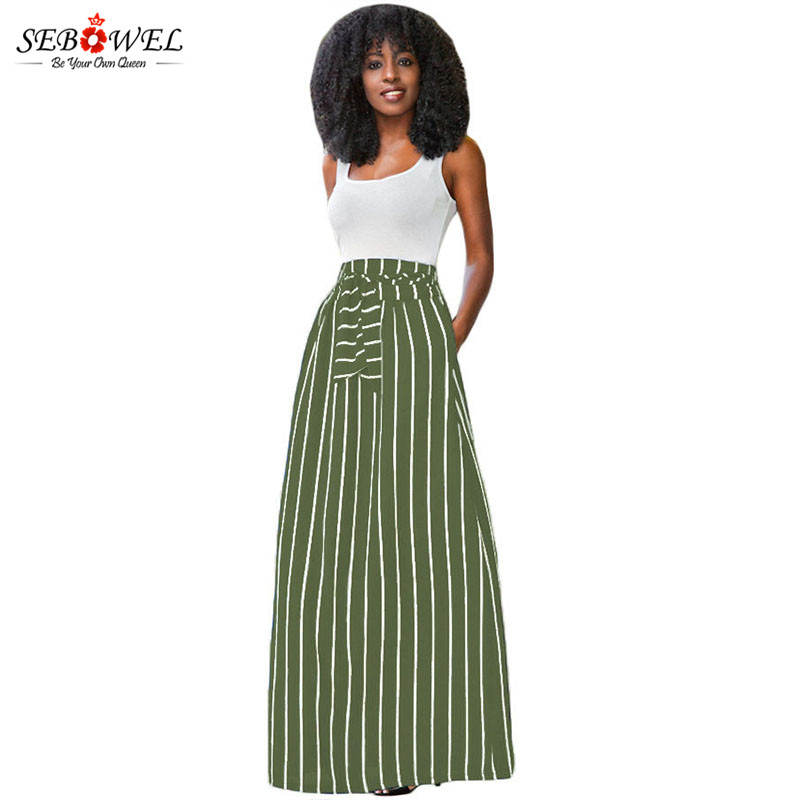 Olive-Green-Striped-Maxi-Skirt-LC65037-9-1