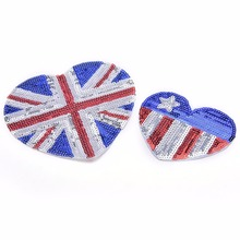 1pc New UK Flag Heart Embroidered Applique Iron Sew On Sequin Patch United Kingdom Badge Transfer DIY Craft Accessory Supplies