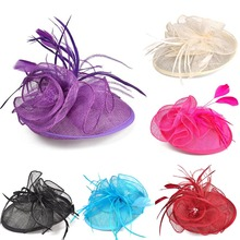 Fashion Vintage Women Fascinator Cambric Cocktail Hat Ladies Flower Feather Hairclip Wedding Bridal Hair Accessories FS9(China)