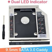 "2016 Full Aluminum Universal 2nd HDD Caddy 9.5mm SATA 3.0 for 2.5"" HDD SSD Case Enclosure +Dual LED for Notebook CD/DVD-ROM ODD(China)"
