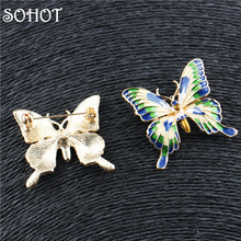 SOHOT Trendy Colorful Enamel Butterfly Brooch Breastpin Dress Cloth Accessories Christmas Birthday Gift for Women Men