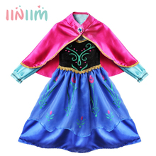 New Girls Princess Dress Children's Christmas Clothes Anna Style Dresses Red Cape Kids Birthday Party Halloween Cosplay Costumes(China)