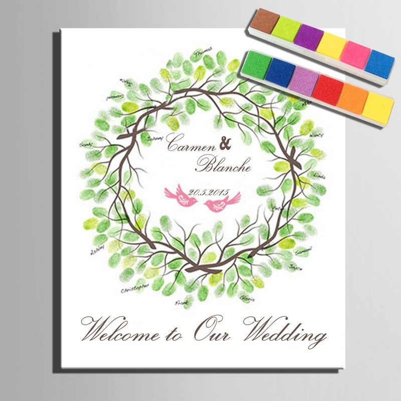 Wedding Gifts for Guests Signature Personalized Wedding Fingerprint  Guest Book DIY fingerprint painting Wedding Tree souvenirs