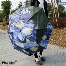 Oil Painting Sunshade Umbrella Van Gogh Drawing Umbrella High Quality Art Oil Painting Rain Umbrella Regenschirm