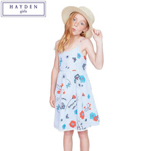 HAYDEN Girls Sundress Patterns Summer 2017 Beach Dress for Teenage Girl Kids Sleeveless Strap Dresses Floral Print Striped Dress